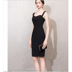 Sheath/Column Knee-length Queen Anne-neck Zipper Back Cocktail Party Dress