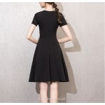 A-line Knee-length Short Sleeves Black Cocktail Party Dress With Bowknot New Arrival