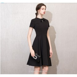 A-line Knee-length Short Sleeves Black Cocktail Party Dress With Bowknot