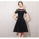 A-line Knee-length Black Chiffon Cocktail Dress Boat Neck Short Sleeves Party Dress New Arrival