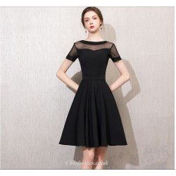 A Line Knee Length Black Chiffon Cocktail Dress Boat Neck Short Sleeves Party Dress