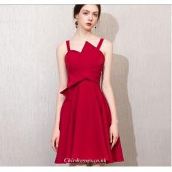 Short Mini Irregular Neckline Petite A Line Red Chiffon Cocktail Party Dress