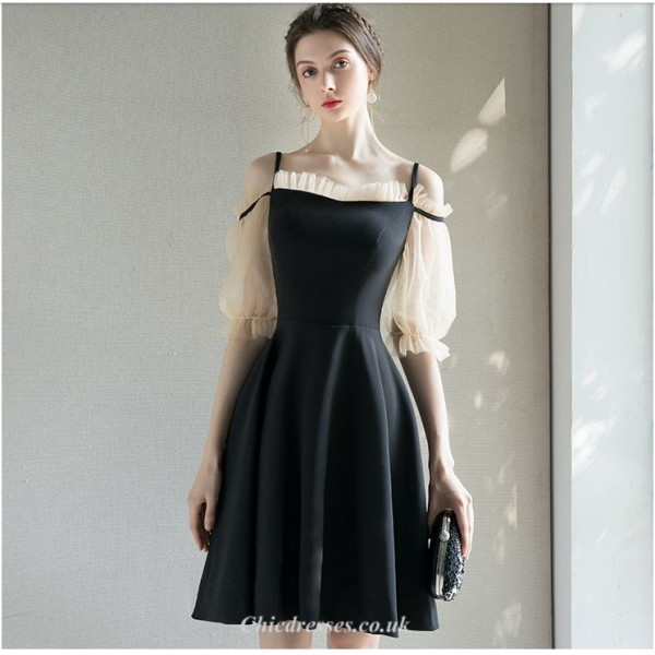 Short/Mini Off The Shoulder Lace Half Sleeves Petite A-line Chiffon Cocktail Party Dress New Arrival
