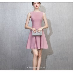 Short/Mini Scoop-neck Pink Chiffon Zipper Back Cocktail Party Dress
