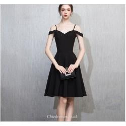 Short Mini Off The Shoulder Zipper Back Black Chiffon Cocktail Party Dress