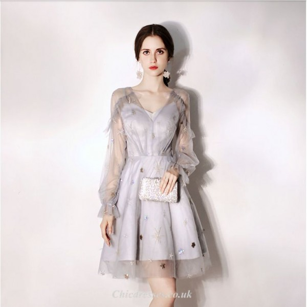 A-line Knee-length V-neck Cocktail Dress Long Sleeves Inside and Outside Two Floors Tulle Party Dress New Arrival