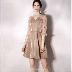 A Line Short Mini Tulle Champagne Cocktail Dress V Neck Half Sleeves Party Dress