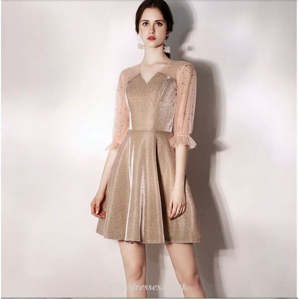 A-line Short Mini Tulle Champagne Cocktail Dress V-neck Half Sleeves Party Dress New Arrival