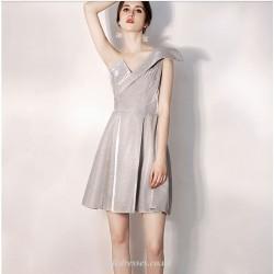 A Line Short Silver Taffeta Irregular Neckline Cocktail Party Dress One Shoulder