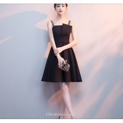 A-line Short Black Fashion Neckline Letters Sling Cocktail/Party Dress