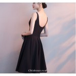 A-line Knee-length V-neck Black Chiffon Cocktail Party Dress New Arrival