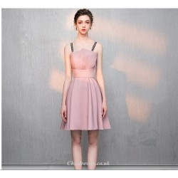 A-line Short Pink Fashion Neckline Letters Sling Cocktail/Party Dress