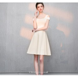 Petite A Line Short Light Champagne Chiffon Cocktail Party Dress