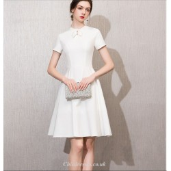 Elegant Knee Length Short Sleeves White Chiffon Cocktail Party Dress With Bowknot
