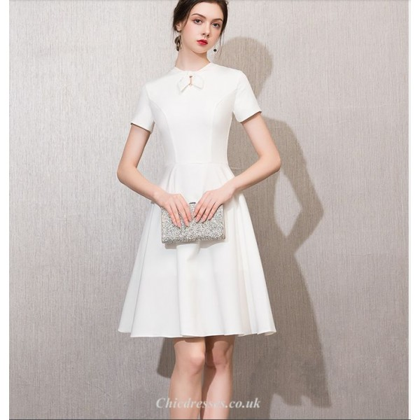 Elegant Knee-length Short Sleeves White Chiffon Cocktail Party Dress With Bowknot New Arrival