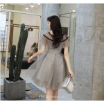 A-line Deep Grey Tulle Cocktail Dress With Sequins Fashion Neckline Party Dress New Arrival