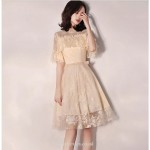A-line Knee-length Champagne Cocktail Dress Lace Neckline Short Sleeves Party Dress New Arrival