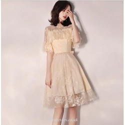 A Line Knee Length Champagne Cocktail Dress Lace Neckline Short Sleeves Party Dress