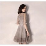 A-line Short Grey Tulle Party Dress Lace Neckline Half Sleeves Cocktail Dress New Arrival