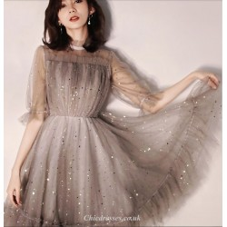 A-line Short Grey Tulle Party Dress Lace Neckline Half Sleeves Cocktail Dress