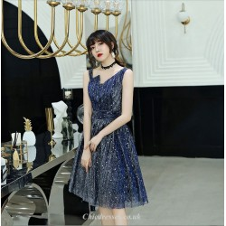 A-line Knee-length Irregular Neckline Blue Cocktail Dress With Sequins