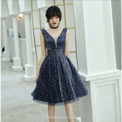 A-line Knee-length Blue Deep-neck Chiffon Cocktail Party Dress With Sequins