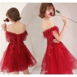 Short/Mini Off The Shoulder Lace-up Red Tulle Cocktail/Party Dress With Sequins/Appliques New Arrival
