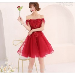 Short Mini Off The Shoulder Lace Up Red Tulle Cocktail Party Dress With Sequins Appliques