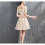 Elegant Champagne Off The Shoulder Short/Mini Chiffon Cocktail/Party Dress New Arrival