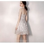 A-line Grey Sling With Disc Petite V-neck Short Tulle Cocktail/Party Dress New Arrival