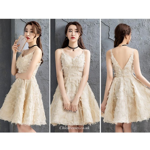 Fashion Knee-length V-neck Spaghetti Straps A-line Cocktail/Party Dress New Arrival