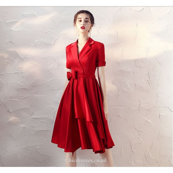 A-line Knee-length Red Party Dress V-neck Short Sleeves Cocktail Dress With Bowkont New Arrival