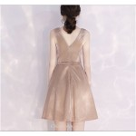 Short/Mini Cocktail/Party Dress Champagne Petite A-line Zipper Back With Sashes New Arrival