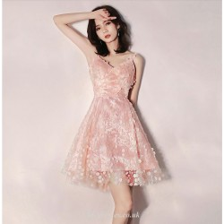 Short Mini V Neck Pink Sling With Disc Petite A Line Tulle Cocktail Party Dress