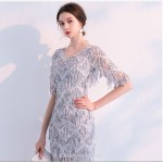 Short/Mini Sheath/Column V-neck Half Sleeves Cocktail/Party Dress With Sequines New Arrival