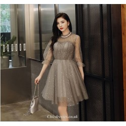 Short/Mini Gray Lace-neck Half Sleeves Tulle Cocktail Party Dress