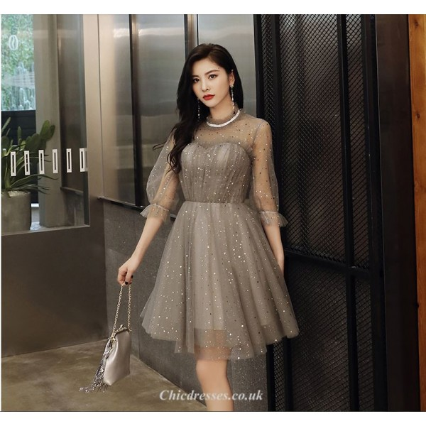 Short/Mini Gray Lace-neck Half Sleeves Tulle Cocktail Party Dress New Arrival