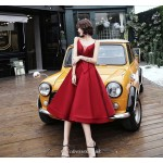 Medium-length Spaghetti Straps Lace-up Deep V-neck Red Satin Cocktail/Party Dress New Arrival
