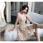 2019 New Knee-length Spaghetti Straps V-neck Cocktail Party Dress With Sequines New Arrival