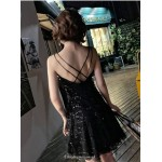 Short/Mini Black Spaghetti Straps V-neck Cocktail Party Dress With Sequines New Arrival