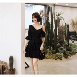 2019 New Fashion One Shoulder Half Sleeves V-neck Lotus Edge Black Cocktail Party Dress