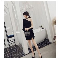 Short Mini Petite Sheath Column One Shoulder Black Cocktail Party Dress