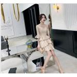 Fashion One Shoulder V-neck Lotus Edge Champagne Color Cocktail/Party Dress New Arrival