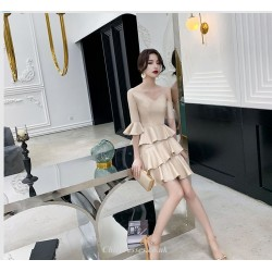 Fashion One Shoulder V Neck Lotus Edge Champagne Color Cocktail Party Dress