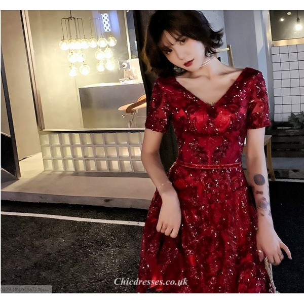 A-line Medium-length Lace-up Short Sleeves Red Cocktail/Party Dress With Sequines New Arrival