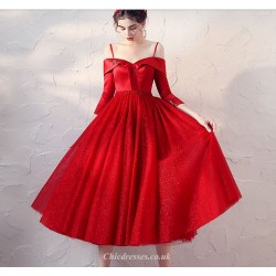 Fashion Medium Length Red Gauze Dress Off The Shoulder Lace Up 3 4 Sleeves Cocktail Party Dress