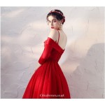 Fashion Medium-length Red Gauze Dress Off The Shoulder Lace-up 3/4 Sleeves Cocktail/Party Dress New Arrival