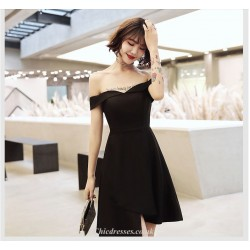 A Line Off The Shoulder Cocktail Party Dress Knee Length Zipper Back Black Chiffon