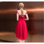 Front Short Rear Length Lace Collar Off The Shoulder Red Cocktail Dress With Sashes/Sequines New Arrival