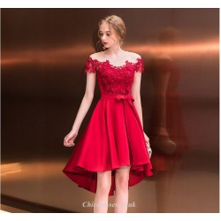 Front Short Rear Length Lace Collar Off The Shoulder Red Cocktail Dress With Sashes/Sequines